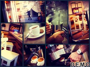 36905660 - image grid of atmospheric photos of a trendy urban cafe.